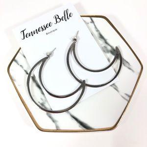 *Open Half Silver Moon Stud Boutique Earrings